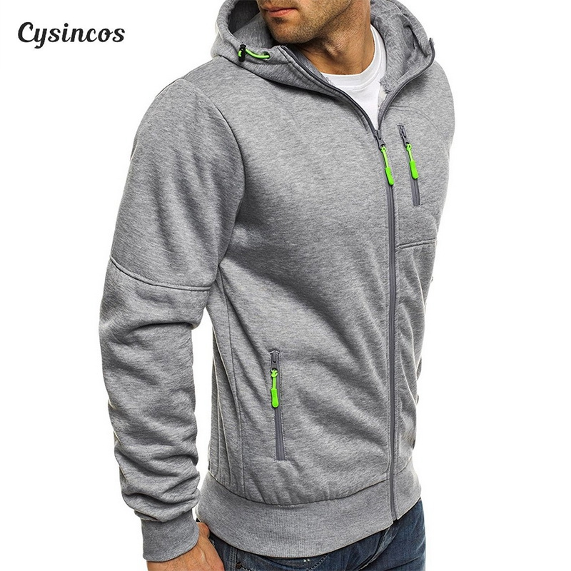 CYSINCOS Sweatshirt Men 2019 Autumn Winter Hoodies Male Pocket Zipper Hooded Tracksuit Men's Casual Fitness Cardigan Outwear
