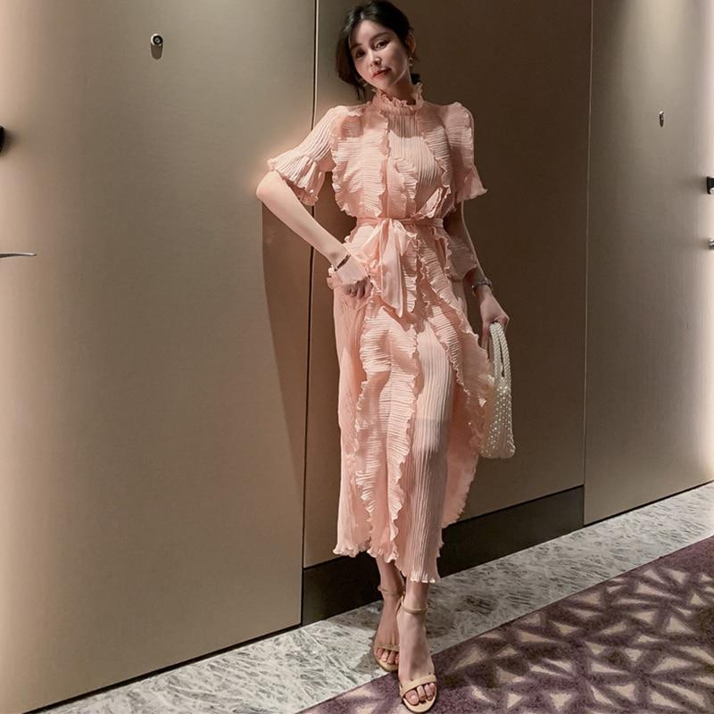 Fashion Women Elegant Summer Chiffon Formal Dress New Arrival Party Vintage High Quality Beach Ruffles Long A-line Dress