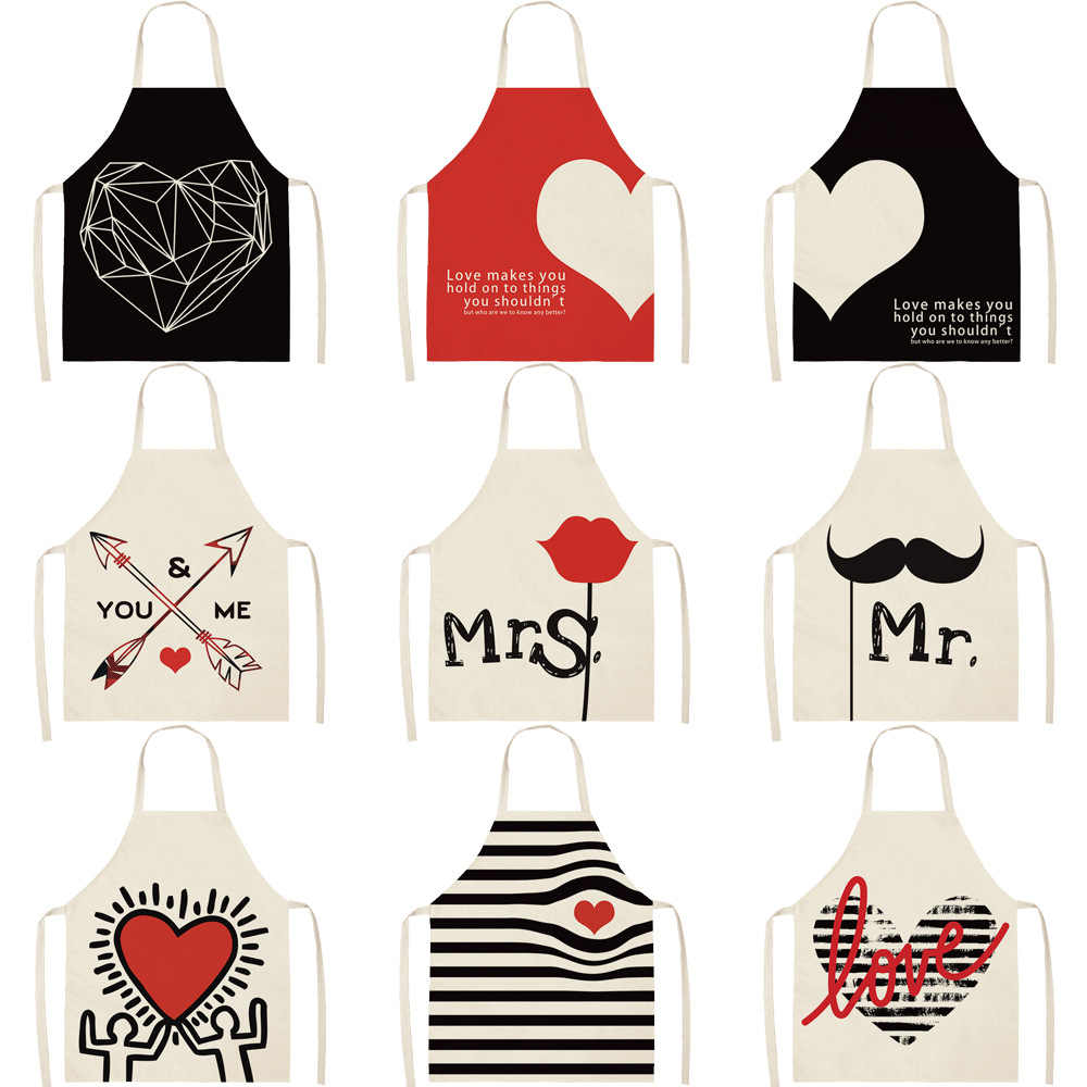 Parent-child Kitchen Apron Valentine's Day Mr &Mrs Printed Sleeveless Cotton Linen Aprons for Men Women Home Cleaning Tools