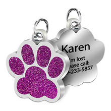 Collar-Accessories Dog-Tag Engraved Puppy Paw Anti-Lost Stainless-Steel Custom Personalized Cat