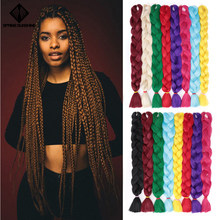 Spring sunshine Synthetic Jumbo Braids Hair 165g Blonde Crochet False Braiding Hair Extensions Pink Blue Purple Brown(China)
