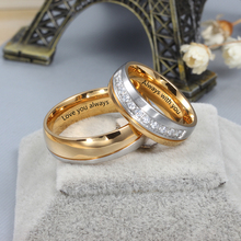Wedding-Rings Engraved Alliance Stainless-Steel Personalized Women Engagement-Band Gift