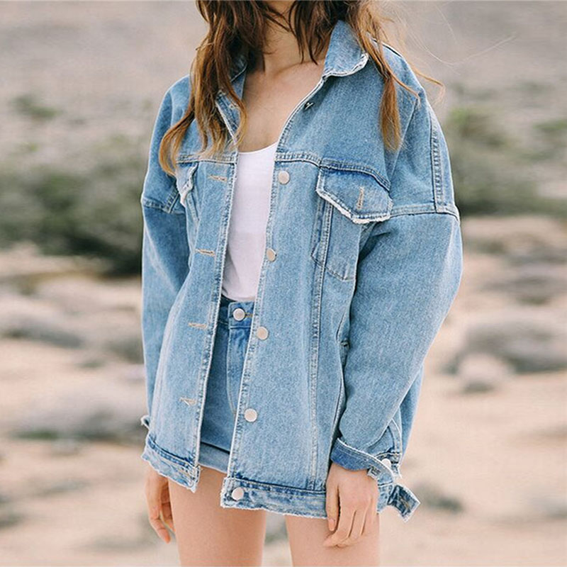 Women's Denim Jacket Autumn Women Retro Oversize Loose Button Jacket Denim Jeans Pocket Coat Jaqueta Feminina Casaco Feminino