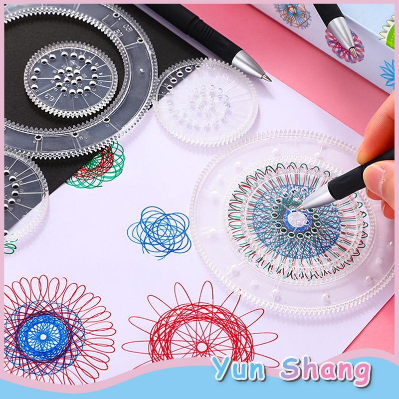27pcs Art Painting Set Spirograph Magic Drawing Toys Kids Art Craft Create Toy Children's Art Painting Template Ruler Stationery