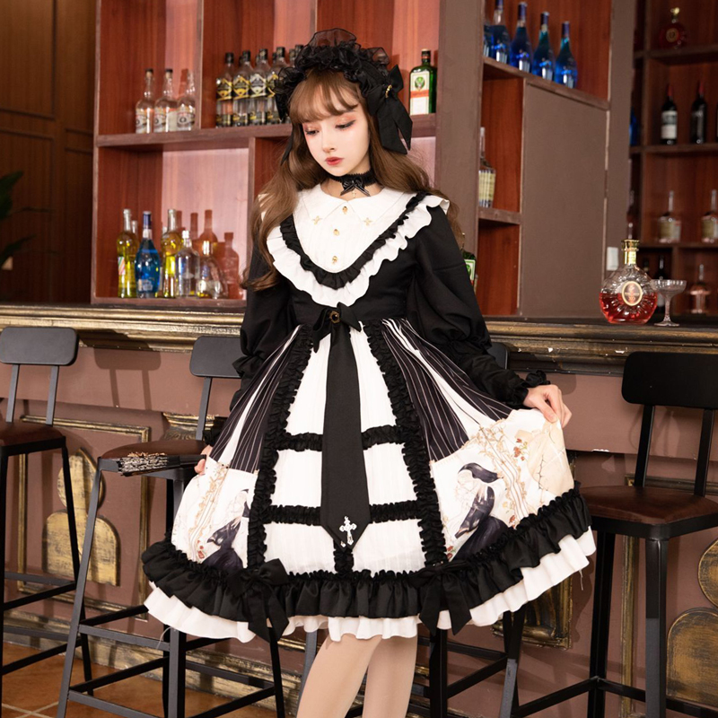 Gothic palace sweet lolita dress vintage falbala o-neck bowknot printing victorian dress kawaii girl gothic lolita op loli cos