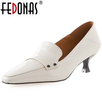 FEDONAS High Quality Women Cow Patent Leather Shoes Woman Fine Heels Pumps Fashion Point Toe Summer New Arrival Shoes Woman