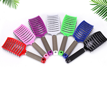 Hair Scalp Massage Comb Hairbrush Bristle Nylon Women Wet Curly Detangle Hair Brush for Salon Hairdressing Styling Tools 4 color women hair scalp massage comb bristle nylon hairbrush wet curly detangle hair brush for salon hairdressing styling tools