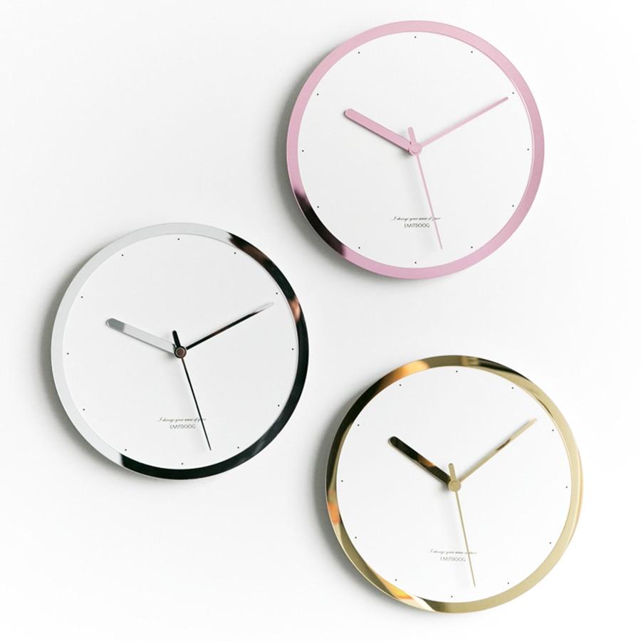 Nordic Wall Clock Modern Design Art Silent Gold Metal Simple Wall Clock Reloj De Pared De Cristal Living Room Decoration MM50WC