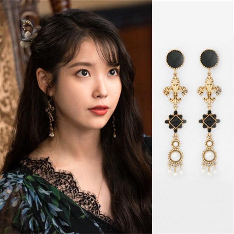 Vintage DEL LUNA Hotel IU coreano Dramas TV moda personalidad oreja gota elegante para mujer Pendientes Brincos ornamento