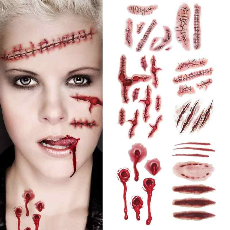1Lot Makeup Sticker Tattoo Bite Gunshot Water Transfer Scar Stickers for Halloween Masquerade Cosplay Party Decorations Supplies