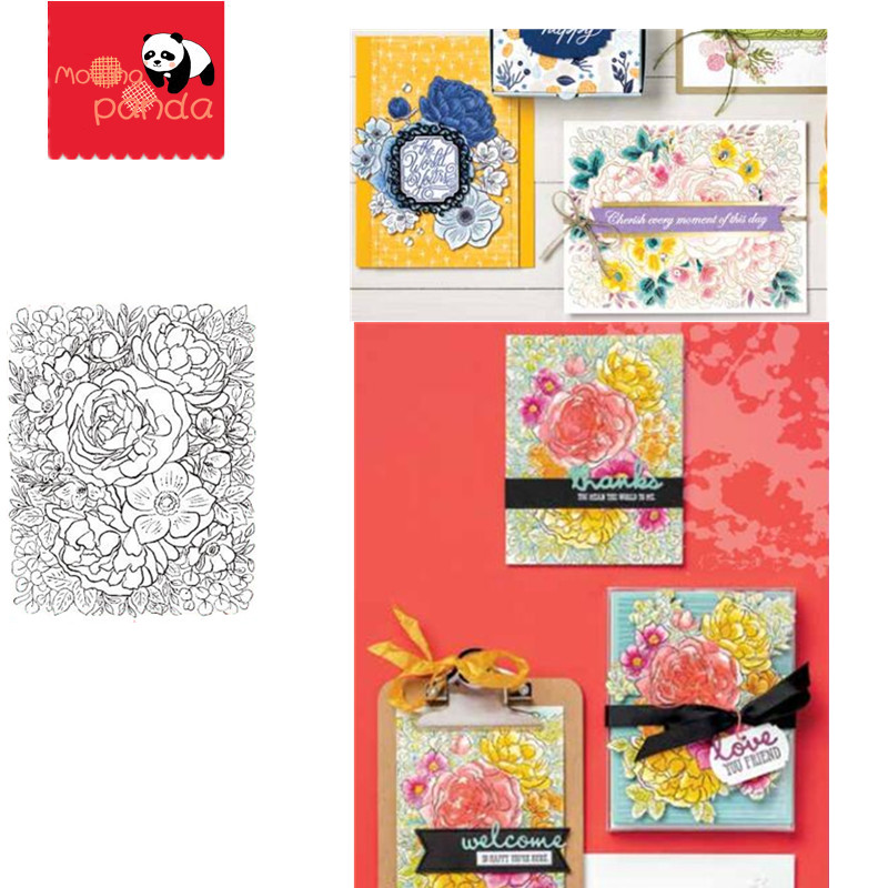 MP090 FLOWER Background Metal Cutting Dies And Stamps DIY Scrapbooking Stamping Die Cuts Flower Paper Card