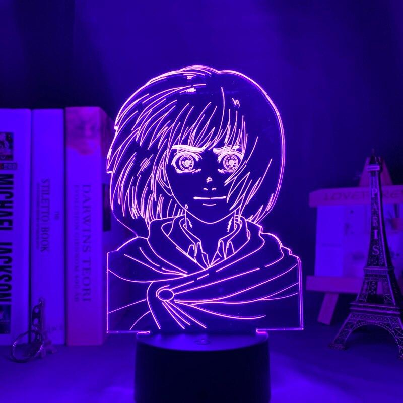 Hcf5311e818b54b74ab9dce9bd6b6ab1ek Luminária Attack on Titan anime shingeki kyojin 3d lâmpada armin arlert luz para decoração do quarto crianças presente ataque em titan led night light armin arlert