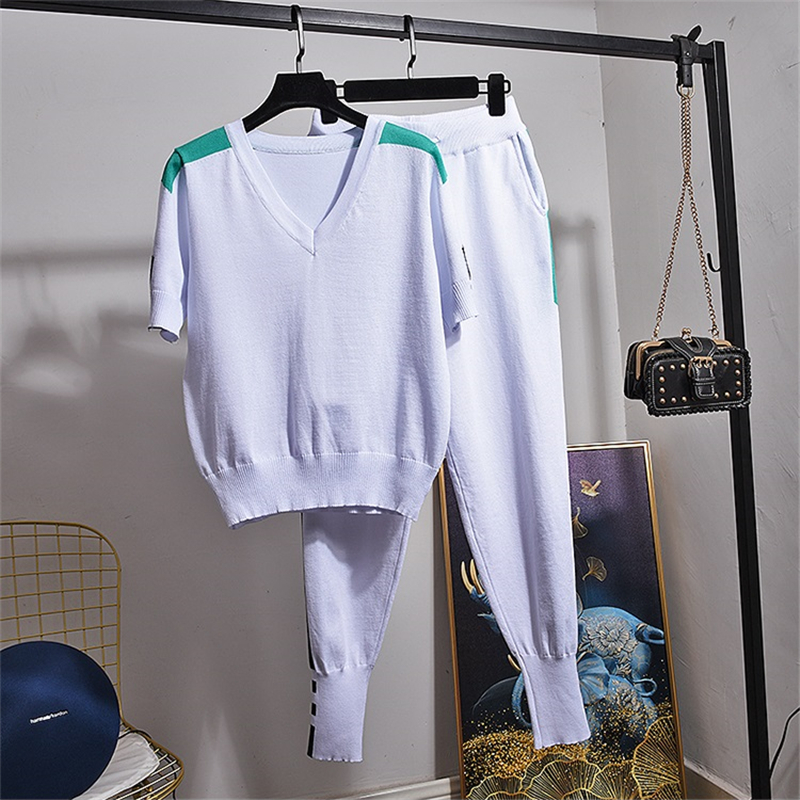Summer Cotton Two Piece Set Women Outfits Tops Korean Fashion Clothing Short Sleeve T-shirt + Casual Pants Ladies Sets Tide H205
