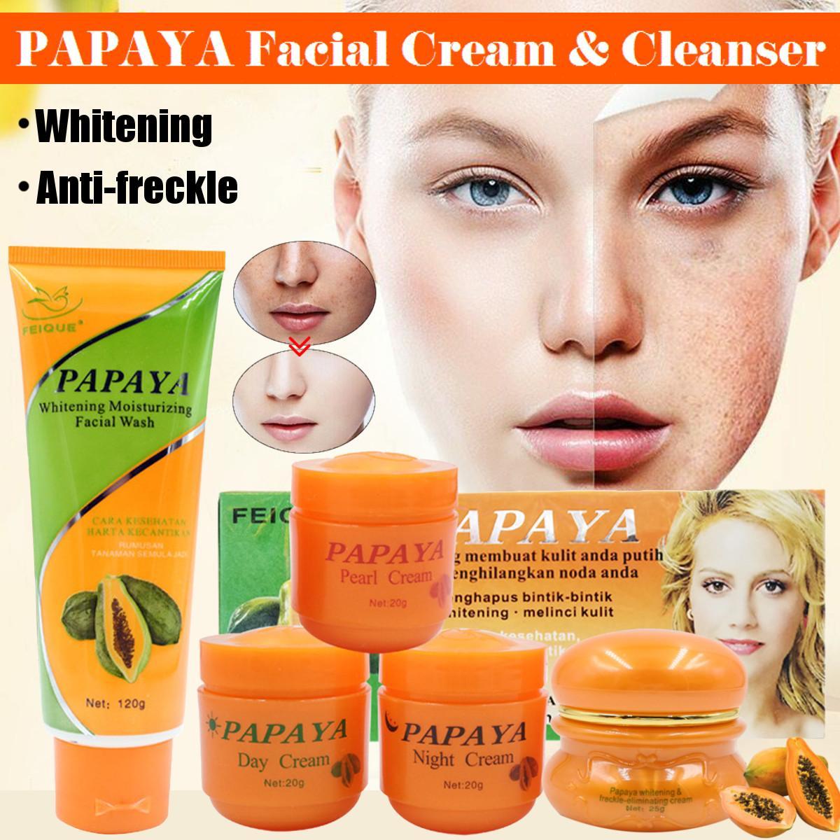 Papaya Whitening Cream For Face Anti Freckle Natural Botanical Formula Skin Care Day Cream+Night Cream+Pearl Cream+Whitening