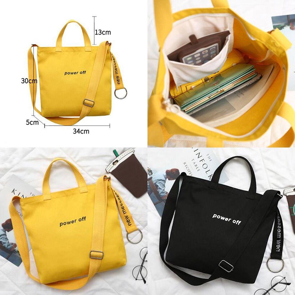 1pc Large Capacity Canvas Shoulder Bag Casual Messenger Travel Shopping Bag Student Kawaii Stationery Storage Bag