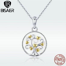 BISAER Shell Necklace 925 Sterling Silver Biocolor Gold Color Heart Tree of Life White Shell Pendant Necklace for Women GXN296 bisaer 100%real 925 sterling silver rose gold color heart apple sakura shape pendant necklace for women fashion gift hsn313