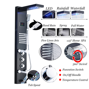 Image 2 - ULGKSD LED شلال دش لوحة الحمام دش صنبور تدليك الطائرات حوض عمود دوُش استحمام صنبور حوض خلاط الفقرة بار حمام