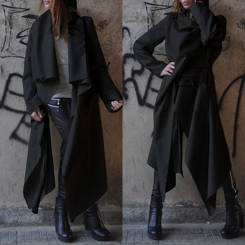2019 Women's   Trench   Windbreaker ZANZEA Fashion Asymmetrical Long Coats Lapel Long Sleeve Cardiagns Female Casual Outwears 5XL