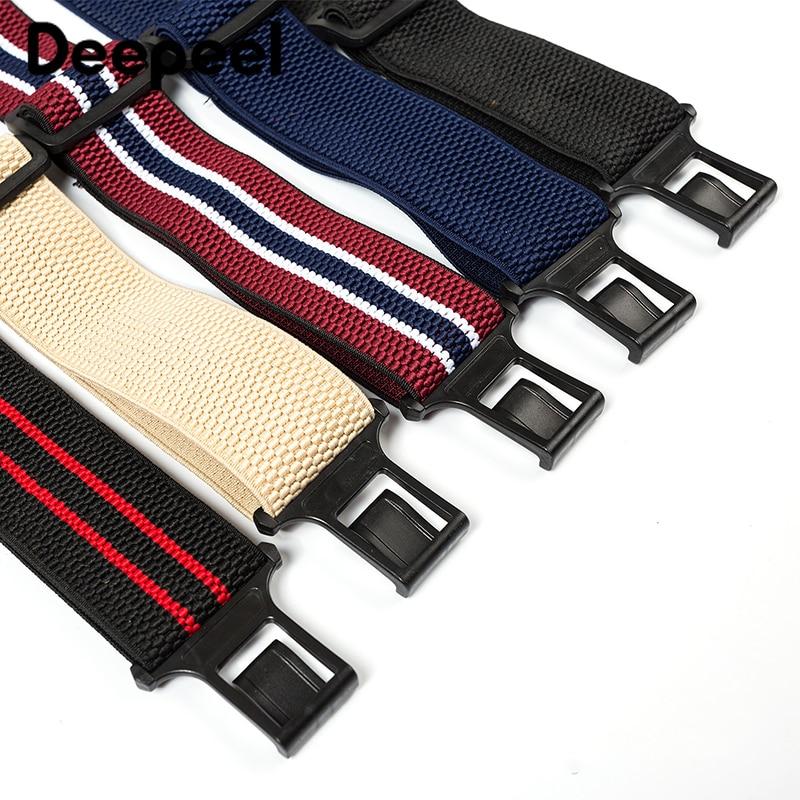 Deepeel 1pc 5*120cm Men's 3 Belt Buckle Polyester Suspenders Unisex Elastic Band Adjustable Suspenders  Jeans Decoration SP073