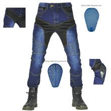 Summer Men Motorcycle Riding Pants Moto pantalon Jeans Protective Pants Motocross Racing KevlDenim Jeans with 4 X Knee Hip Pads