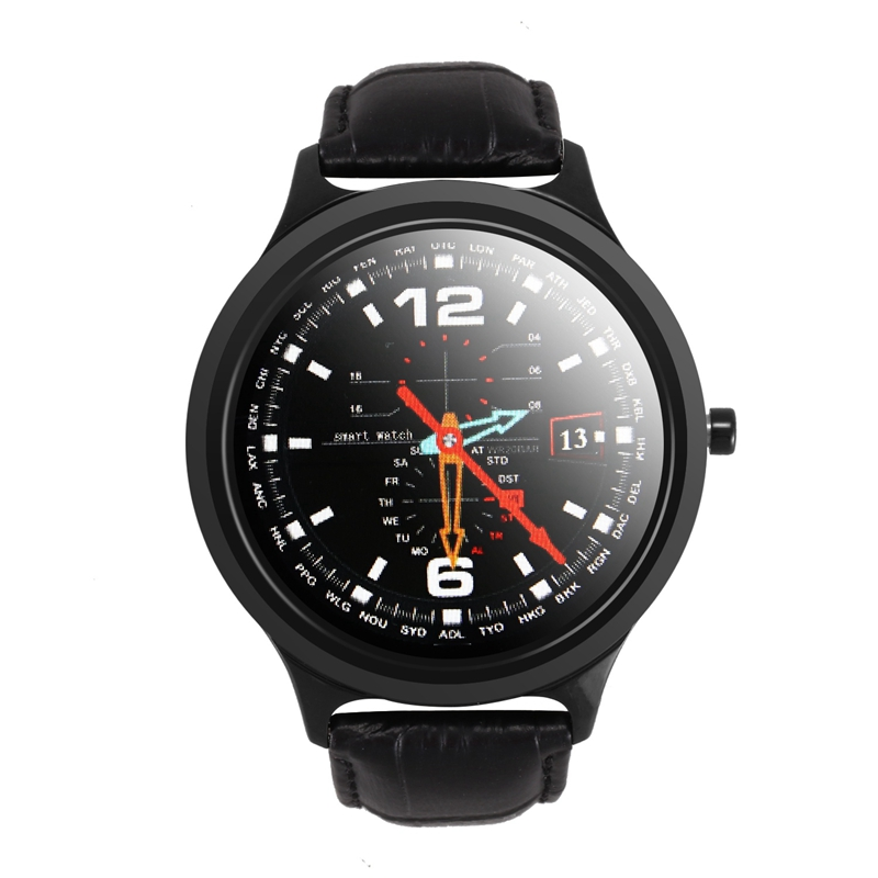 W18 1.33 Inch Larger Full Press Screen RAM 1G Heart Rate Monitor Music Control Weather Smart Watch Leather Or Stainless