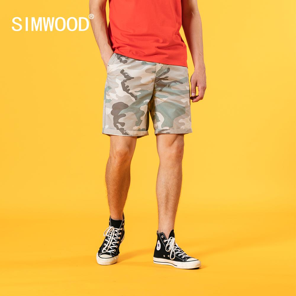 SIMWOOD 2020 summer new camouflage shorts men drawstring elastic waist enzyme wash short plus size knee-length short SJ120655