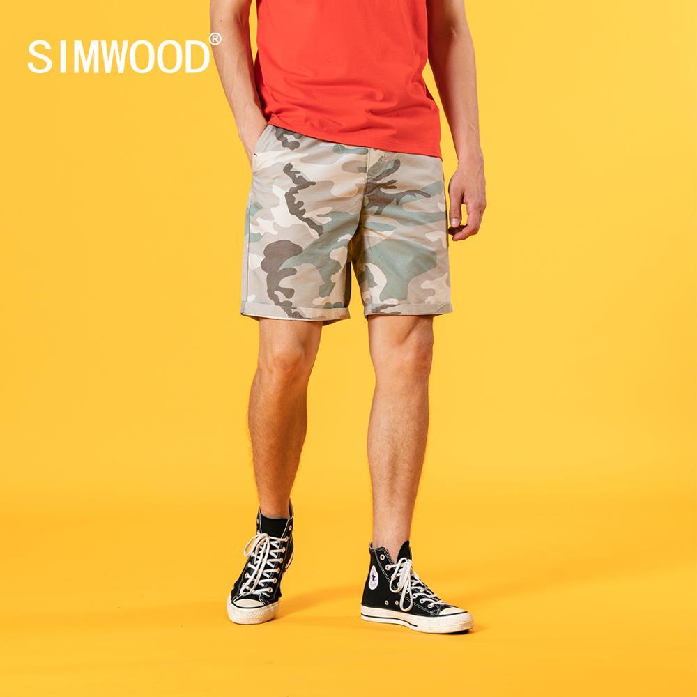SIMWOOD 2020 sommer neue camouflage shorts männer kordelzug elastische taille enzym waschen kurze plus größe knie-länge kurze SJ120655