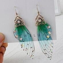AENSOA Temperament Fairy Wing Long Earrings Insect Butterfly Wing Drop Earrings Korean Resin Green Color Rhinestone Earrings