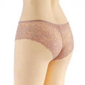 Image 3 - 3 יח\חבילה פרחוני תחתונים סקסיים לנשים של תחתוני רוקנו תחרה תחתוני קשת נמוך עלייה שקוף הלבשה תחתונה 3Xl בתוספת גודל נקבה