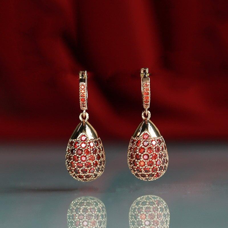 Mèche Dolly nouveau gland boucles d'oreilles peut balancer dames de mode aristocratique bijoux de mariage 585 or rose naturel zircon bohème earri