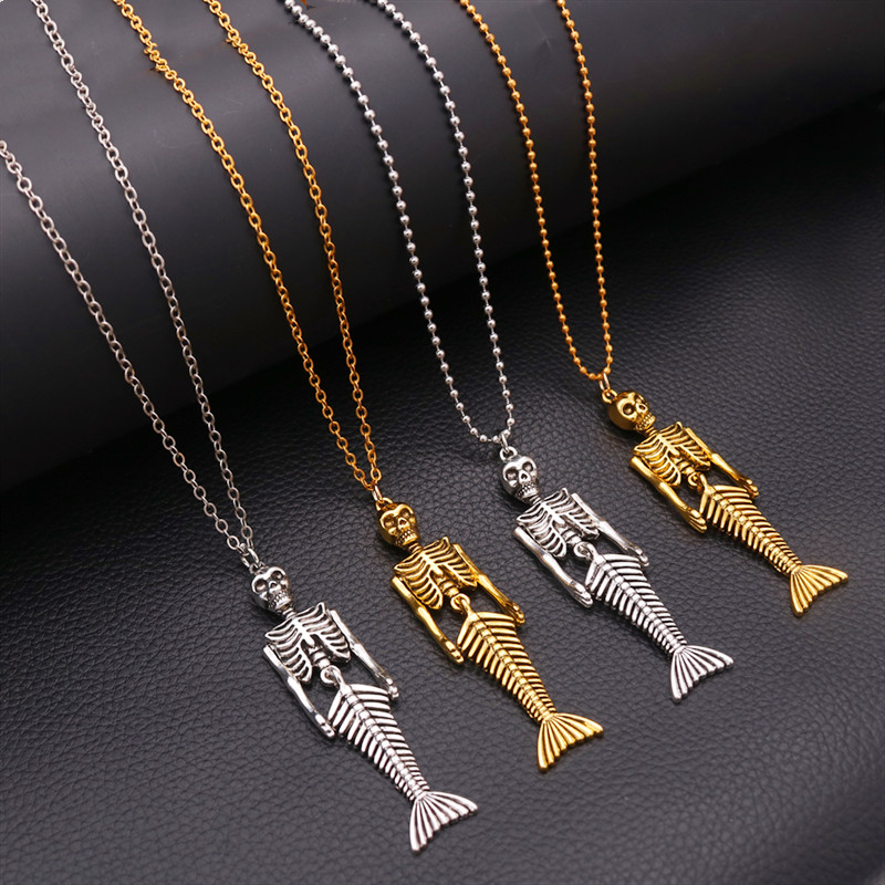 1pcs Fashion Mermaid Skeleton Charms Necklace Halloween Punk Male and Female Necklace DIY Handmade Jewelry Findings A1504
