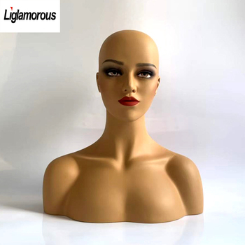 New Female Realistic Women Mannequin Head Fiberglass Display Jewelry Hat Glasses Necklace Earrings Scarf Wig Art Show No.35