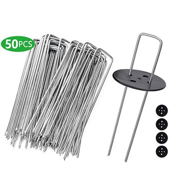 50Pcs Garden Peg U-Shaped Ground Nail Fixing Nail For Cloth Shade Net Fences Gardening Fixing Tools With 4PCS Gasket image