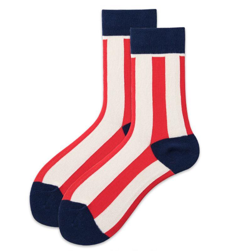 Men Women Vintage Long Crew Socks Contrast Color Red White Wide Vertical Stripes Print Harajuku Hip Hop Cotton Hosiery
