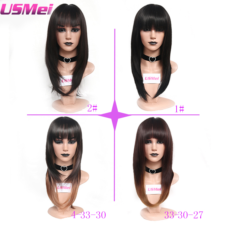 USMEI Silky Straight long black Ombre brown blonde Synthetic Wigs for women two tone natural hair Neat Bang Wigs 4 colors choice in Synthetic None Lace Wigs from Hair Extensions Wigs