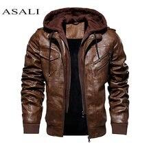 Jaqueta e casaco com capuz outono inverno quente casual jaquetas de couro pu casacos ajuste fino outerwear masculino zíper com capuz