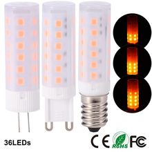 G4 G9 E14 LED Bulb Flickering Flame Corn Light lamp ceramic simulation dynamic Effect AC85~265V DC12V for Holiday Decorative