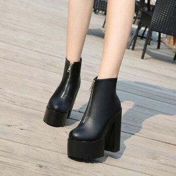 2019 new European America fashion sexy 14CM high heels thick with waterproof platform short boots nightclub catwalk Martin boots