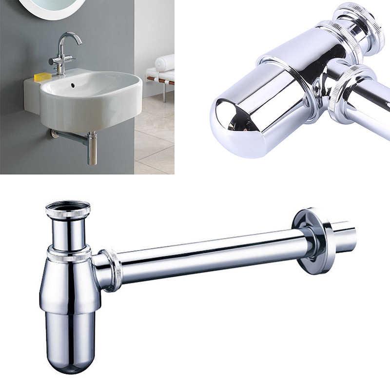 bathroom basin sink tap bottle trap drain kit waste trap pop drain chrome brass wall siphon chrome basin trap