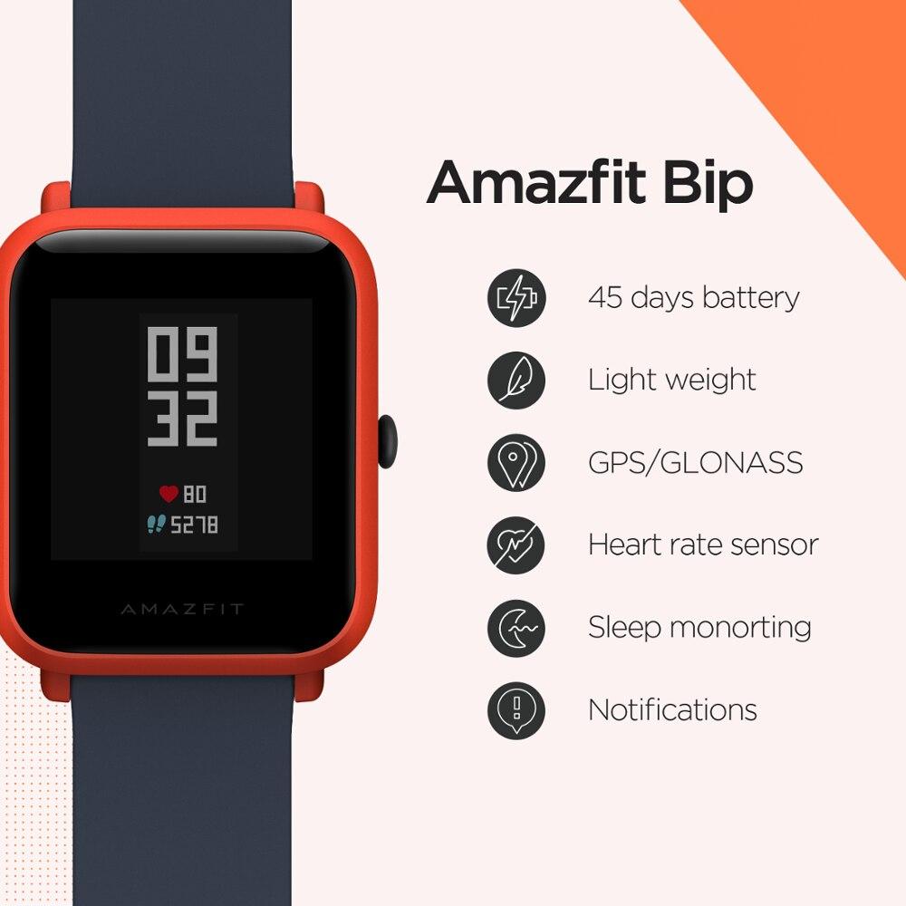 Склад в России רב שפה Amazfit ביפ חכם שעון GPS Glonass Smartwatch חכם-שעון שעון 45 ימים המתנה עבור טלפון iOS