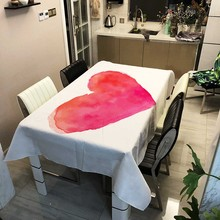 LOVE Heart Pink Rectangular Tablecloth Cute lovely Mariage Wedding Decoration Linen Dining Table Cover Home Tablecloths