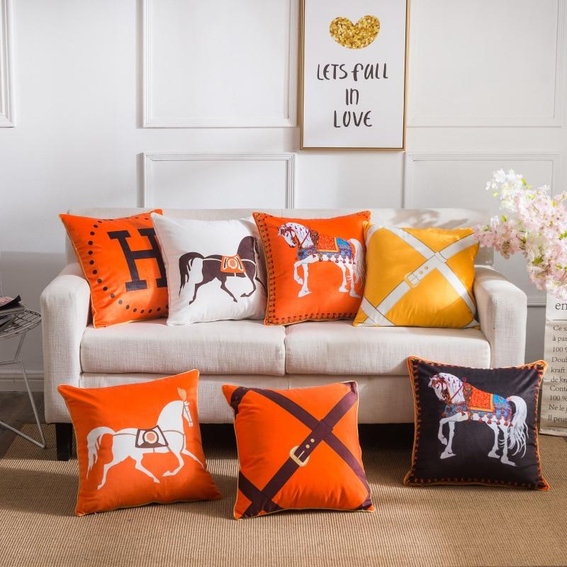 ZENGIA Luxury Horse Velvet Cushion Cover Soft Double Printed Pillow Cover Pillowcase Home Decorative Sofa Throw Pillows Horse