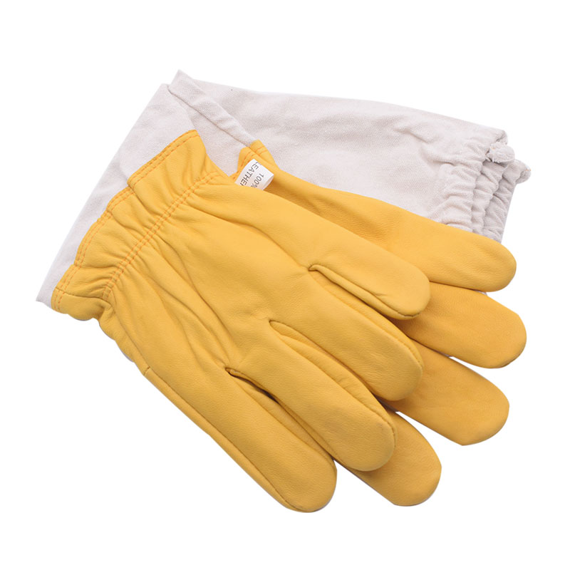 Image 4 - Yellow Gloves Sheepskin Anti Bee Beekeeping Tools For Beekeeper Protective Glove Canvas Beekeeping Equipment Parts 2020NewProtective Clothing Accessories   -