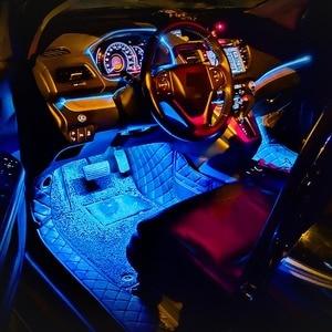 Image 5 - Светодиодная Автомобильная ножная лампа окружающий светильник RGB usb приложение Беспроводное дистанционное управление музыкой Автомобильный интерьер декоративный неоновый атмосферный светильник s