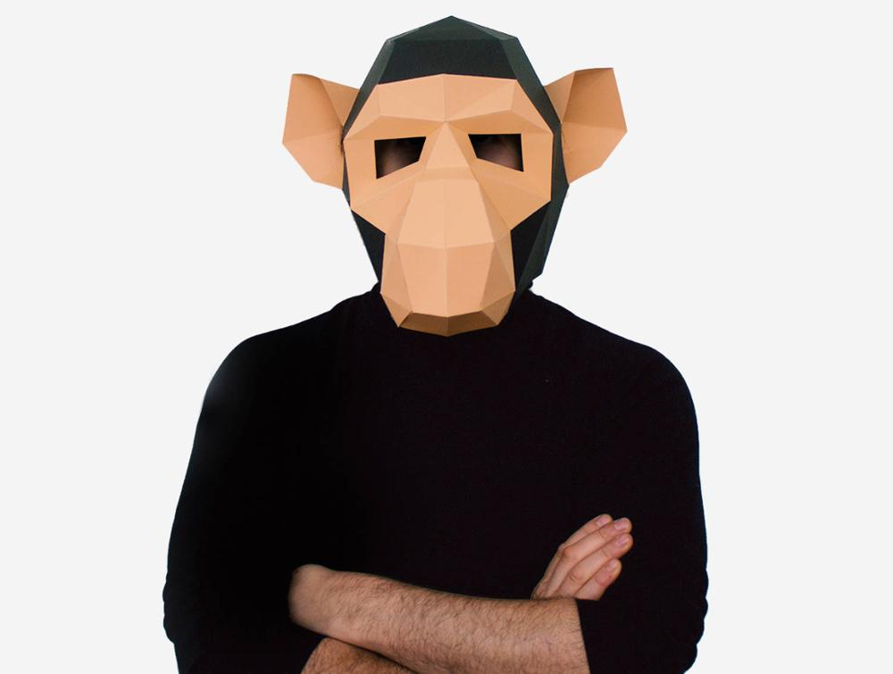 Monkey DIY Mask Cosplay Christmas Costume Adult Children Cardboard Breathable Halloween Party Funny Masks