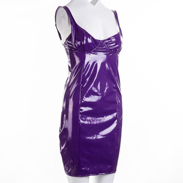 hirigin Women Latex Faux Leather Bodycon Mini Dress 2020 Summer Sleeveless Strap  Sexy Club Vestido 5