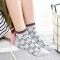 Женские носки в полоску с буквами алфавита, из чистого хлопка, для спорта и отдыха, короткие носки-лодочки, Япония, Южная Корея, новинка 2021