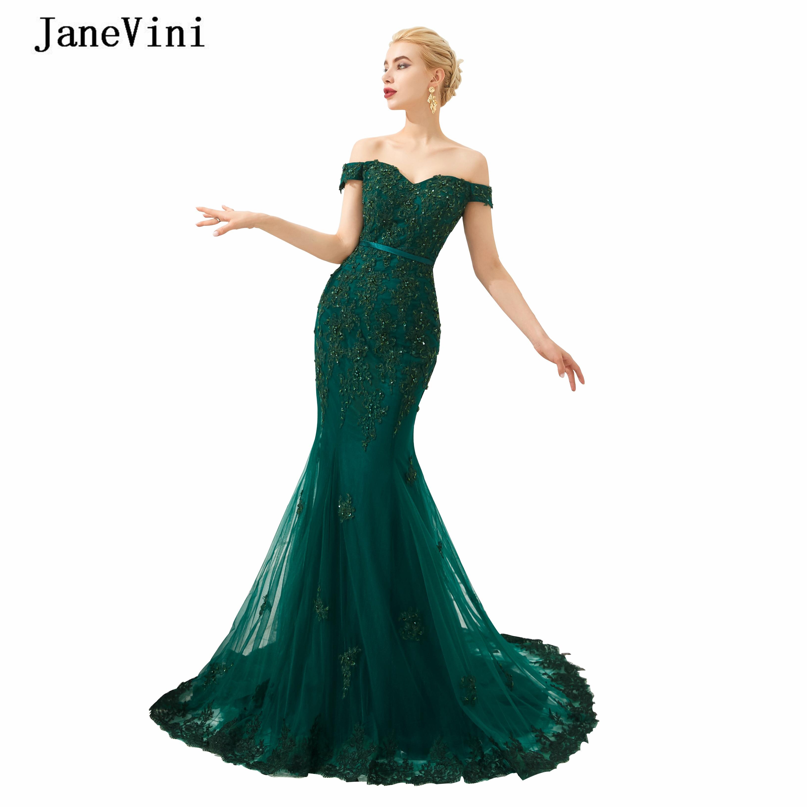JaneVini Vintage Dark Green Mermaid Long   Prom     Dresses   Off Shoulder Lace Appliques Beaded Tulle Backless Dubai Evening   Dress   2019