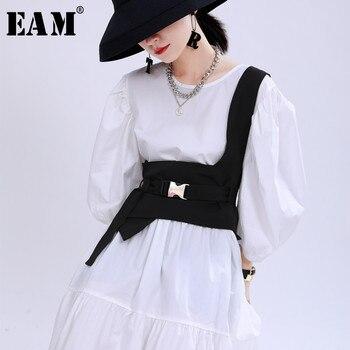 [EAM] Women Loose Fit Black Irregular Split Joint Buckle Bandage Vest New Sleeveless   Fashion Tide Spring Autumn 2021 1U528 1