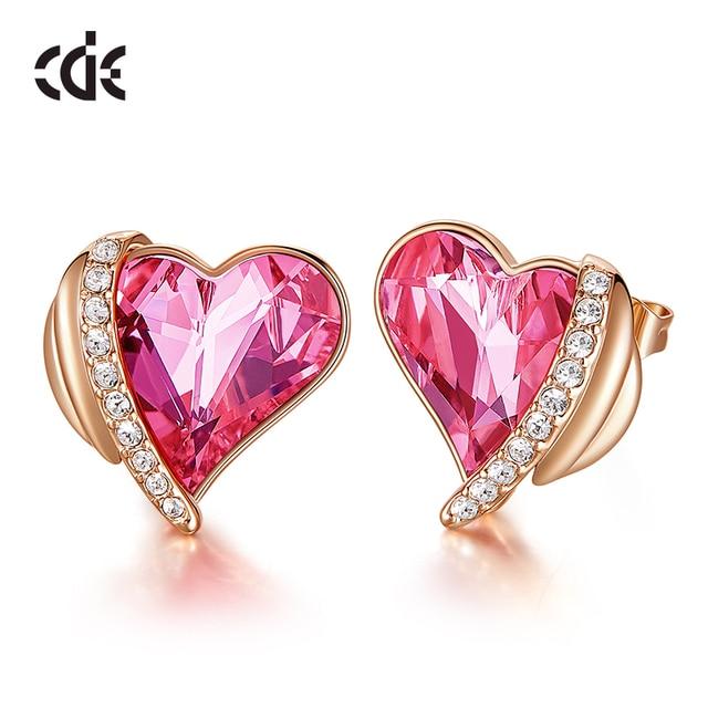 CDE Women Gold Earrings Jewelry Embellished with Crystals from Swarovski Pink Angel Wings Heart Stud Earrings Fine Jewelry Gifts